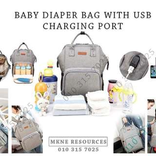 Baby Diaper Backpack with USB Charging Port Large Size