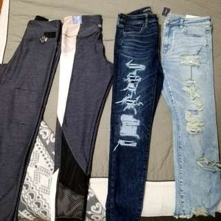 BNWT JEGGINGS/LEGGINGS PINK AND AE OUTFITTERS