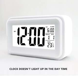 """93.HITO 6"""" Alarm Clock w/ Date and Temperature Display, Repeating Snooze, Light-activated Sensor Light and Touch-activated Nightlight- Batteries/ USB powered (White)"""