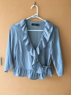 Glassons wrap top blue