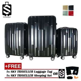 SKY TRAVELLER SKY291 Vogue 3-In-1 Fancy Design Luggage Set With 8 Wheels (20Inch+24Inch+28Inch)