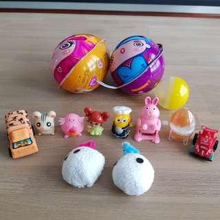 Various egg shells and surprise toys