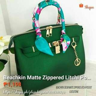 Beachkin Matte Zippered Litchi Pocket
