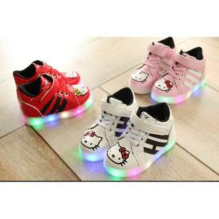 [READY STOCK] High-Cut Hello Kitty Shoes With LED Light