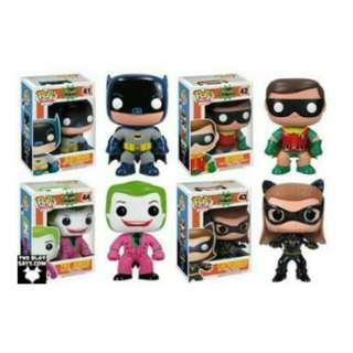 Classic TV Series Batman Robin Catwoman The Joker Funko Pop Set