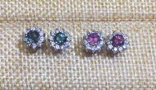 GUAVA 粉紅色/綠色碧茜配日本石耳環
