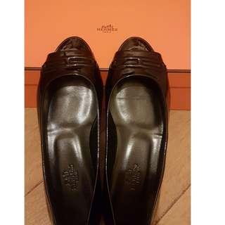 Hermes 黑色鞋一對,全新,size 37.5