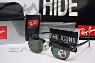 Ray Ban Clubmaster RB3016 901/58 51MM Black Polarized