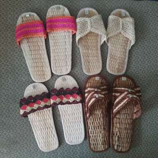 REPRICED! 4 Pairs Abaca Indoor Slippers