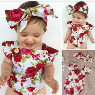 Infant baby girl floral bodysuit romper.