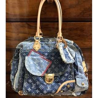 LOUIS VUITTON limited edition denim mono patchwork bowly bag