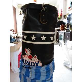 LEATHER PUNCHING BAG WITH METAL CHAIN