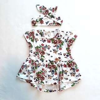 BN 12Mth Flower Dress and Hairband
