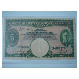 (BN 0015) 1941 Malaya KGVI 5 Dollars