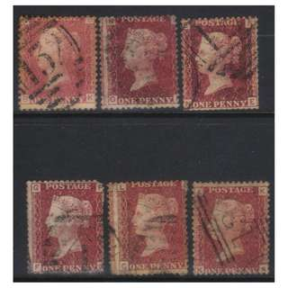GREAT BRITAIN 1858-1879 1d RED USED PLATE NO'S 180-184,186 6 pcs BL565