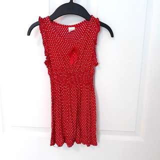 FOC: 3T Red Pokka Dot Dress