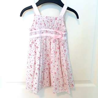 3T Pink Cotton Dress with Rosebuds