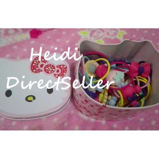 hello kitty 30pcs pony tail with can container
