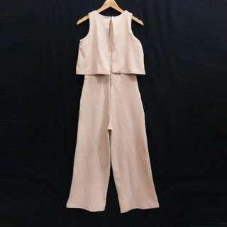 D52 Beige Wafle Jumpsuit Long Dress Maxi Gaun Gown