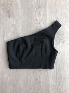 LUVALOT BLACK OFF SHOULDER CROP - SIZE 10