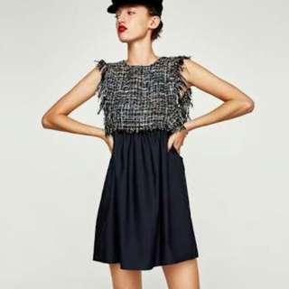 Zara contrasting tweed dresss