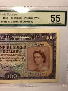 1953 Malaya & British Borneo QEII $100 PMG 55 About Uncirculated