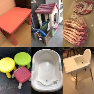 Baby chair table toy house bath tub