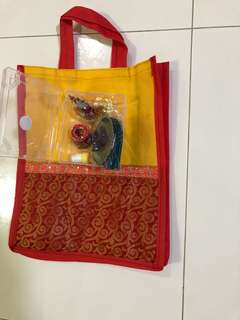 Rangolis, return goodies, bags