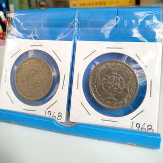 1968年澳門壹圓1元一元硬幣 x4