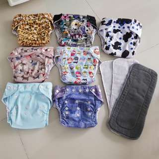 Free mail-  Adjustable Newborn kids toddler boy girl Cloth Diapers with inserts and free 3 pcs