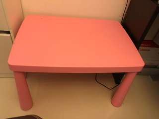 Pink kids plastic children table and chair stool
