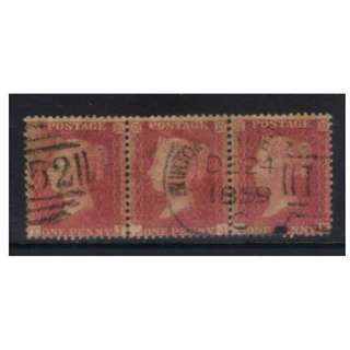 GB 1856-1858 SG40 USED STRIP OF 3 PMK DEC 24 1859 CAT £36+ BL567