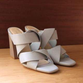 Zalora 大象灰 粗跟涼鞋