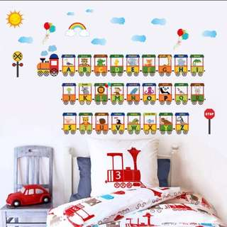 🎉New Arrival 26 Alphabet Cartoon children's room Animal alphabet train wall stickers Kindergarten classroom wall decoration removable stickers Home decor ( Raw sticker 90x60cm )