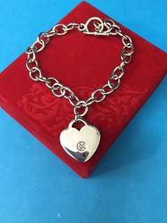 No:0235. 925純銀包白金鏈,配心形一粒真鑽石吊飾20x20x3mm手鏈長7.5寸
