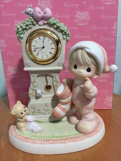 Precious Moments Boy with Clock Figurine : It's Almost Time for Santa
