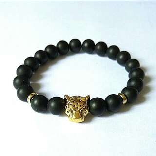 Offer Bracelet $10 Unisex Golden Leopard Matte Black Onyx Bracelet, Gift For Men And Women, Couple Bracelets