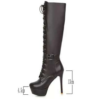 Side Zipper Platform Lace Up Buckle High Heel Knee Boots Sexy Thin High Heel Winter Shoes Brown White Beige Black