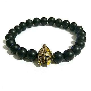 Offer Bracelet $10 Unisex Gold Spartan Matte Black Onyx Bracelet, Gift For Men And Women, Couple Bracelets