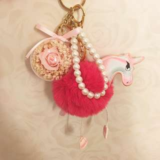 Bag Charm / unicorn keychain / accessories / preserved rose
