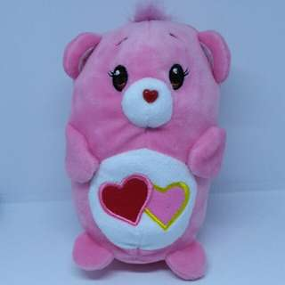 "Brand New 4"" Chums Carebears Care Bears Love A Lot Figurine Two Hearts Female Bear Plush Stuffed Soft Toy Beanbag (Pink)"