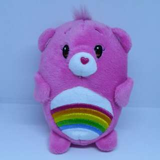 "Brand New 4"" Chums Carebears Care Bears Cheer Figurine Rainbow Female Bear Plush Stuffed Soft Toy Beanbag (Pink)"