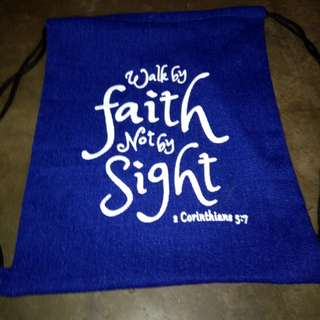 String bags with bible verse