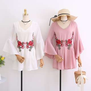 Embroidery Bell Sleeve Rompers