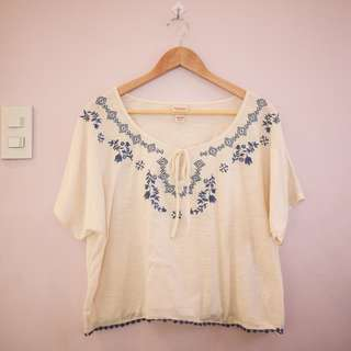 Mossimo Crop Top with Blue Embroidery