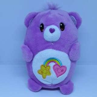 "Brand New 4"" Chums Carebears Care Bears Best Friend Figurine Smiling Heart Star Rainbow Female Bear Plush Stuffed Soft Toy Beanbag (Violet)"