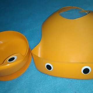 Feeding bowl and feeding bib