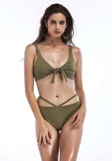 Brazilian Ribbon Tie Strappy Side Two Piece Bikini Swimsuit