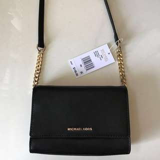 Authentic MICHAEL KORS Ruby Black Smooth Leather Clutch Bag