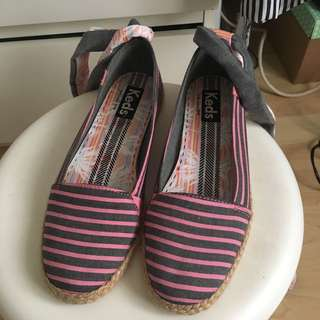 Keds stripe ankle strap espadrilles summer shoes 夏天間條草鞋綁帶蝴蝶結